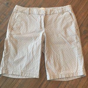 J. Crew size 4 gray & white Bermuda shorts